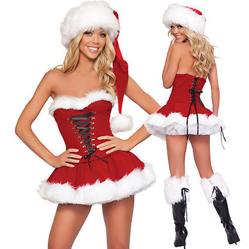 <font><b>Sexy</b></font> <font><b>Christmas</b></font> <font><b>Costume</b></font> Thick Velvet Santa Cosplay Suit Erotic Baby Doll Maid Uniform <font><b>Christmas</b></font> Party Dress <font><b>Outfit</b></font> For Women VL image