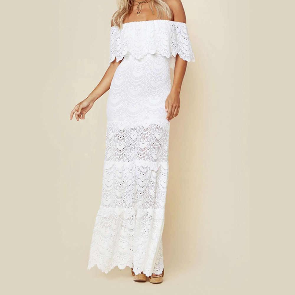 סטרפלס לבן תחרה Boho רצפה-Leng שמלות קצר שרוולי נדן חוף כלה שמלות בת ים חתונה אלגנטית robe dentelle #10