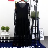 Free Shipping 2017 Spring New Lace Dress Long Sleeved Dress Slim Large Size Seaside Holiday