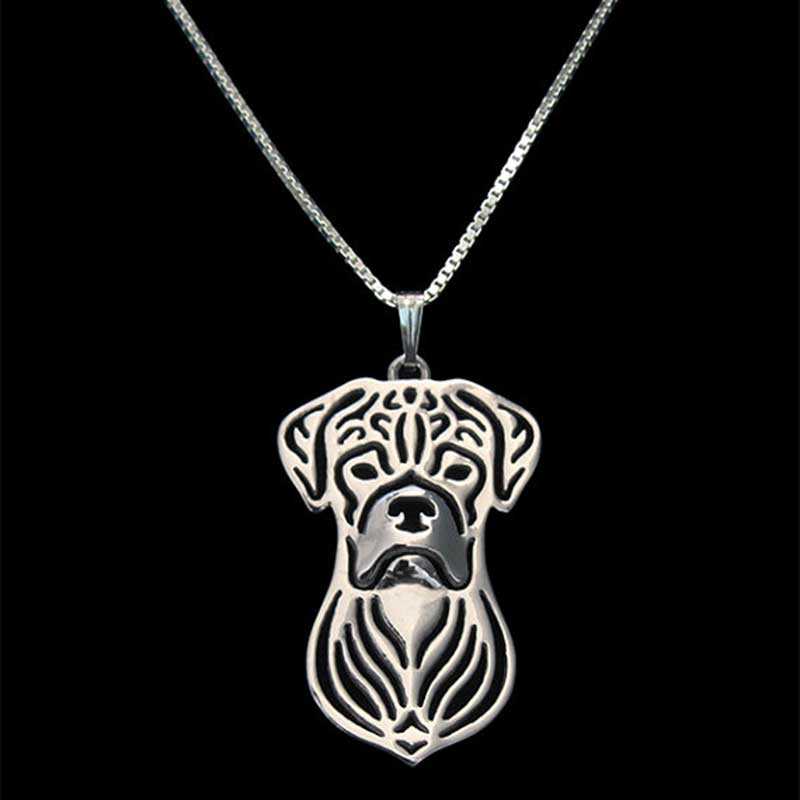 Boxer Necklace Silver Puppy Dog Lover Pendant Necklaces Hallow Animal Charm Christmas Gifts For Pet Dog Jewelry 10pcs