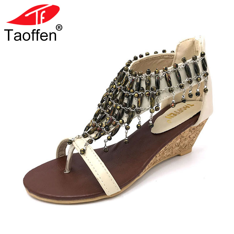 TAOFFEN real high-heeled shoes small yards bohemia national trend beaded plus size women's wedges sandals size 30-43 PA00190 sandals genuine leather new woman s shoes high heel 10cm platform 1cm female summer small yards small yards eur size 34 39 page 5