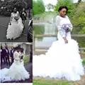 Trendy Lace Ruffles Sereia Africano Vestidos de Casamento Sheer Manga Comprida Tiers Vestidos de Noiva Plus Size Equipado 2018 vestido de Noiva