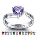 Anillos de piedra de Plata de Ley 925 personalizados corazón romántico grabado nombre promesa anillo joyería fina regalo para madres (RI101975)