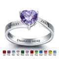 Personalized 925 Sterling Silver Birthstone Rings Romantic Heart Engrave Name Promise Ring Fine Jewelry Gift For Moms (RI101975)