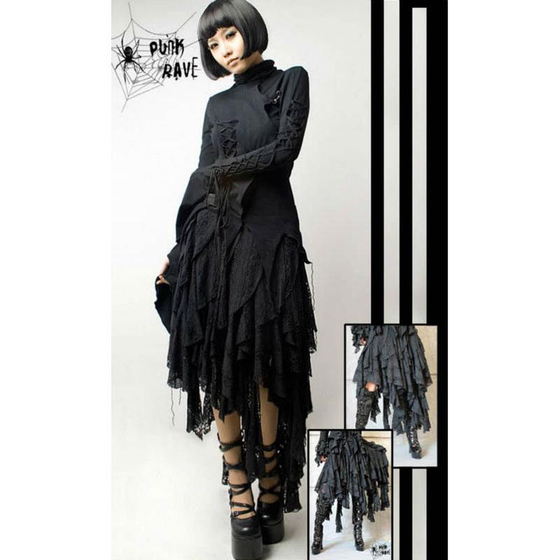Punk Rave Schwarz mysterious Goth Rock, Dance punk, street fashion lolita kleidung Q079-in Röcke aus Damenbekleidung bei  Gruppe 1