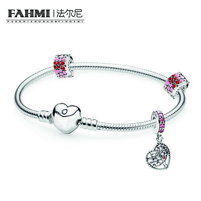 FAHMI New Arrival 100% 925 Sterling Silver Simple Bracelet For Women With Heart Chain Charms Beads Fashion Jewelry OriginalFAHMI New Arrival 100% 925 Sterling Silver Simple Bracelet For Women With Heart Chain Charms Beads Fashion Jewelry Original