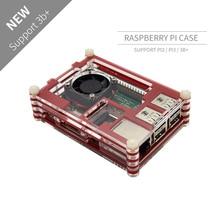 Acry Raspberry Pi de 9 capas, caja de 9 capas con ventilador de refrigeración, para Raspberry Pi 3 B Raspberry Pi 3 B + en rodajas rojas y negras