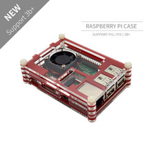 Raspberry Pi 9-layer Acry for Raspberry Pi 3 Raspberry Pi 2 B Raspberry Pi 3 B+ black red Sliced 9 Layers Case Box + Cooling Fan(China)