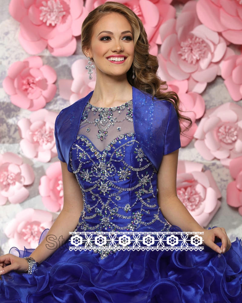 Royal Blue Sweet 15 Sleeveless O neck Corset Back Ball Gown Princess ...