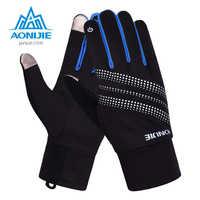 AONIJIE hombres mujeres deportes al aire libre guantes calientes a prueba de viento ciclismo senderismo correr esquí guantes de dedo completo
