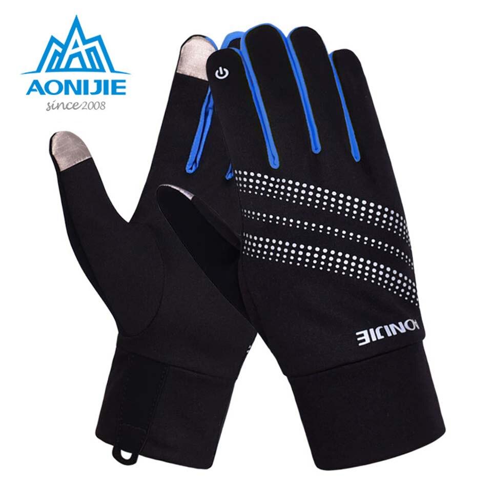 AONIJIE hombres mujeres guantes deportivos al aire libre cálido a prueba de viento ciclismo senderismo escalada correr esquí guantes dedo completo