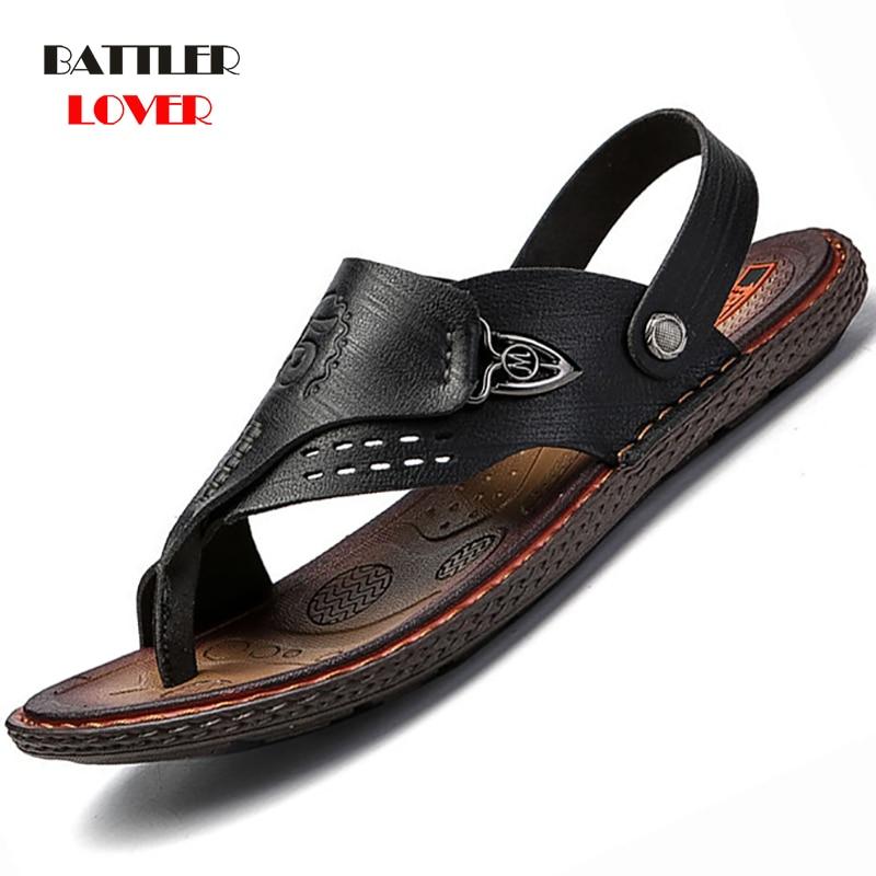 Genuine Cow Leather Shoes Men Fashion Men Flip Flops Trendy Anti-slip Leather Men