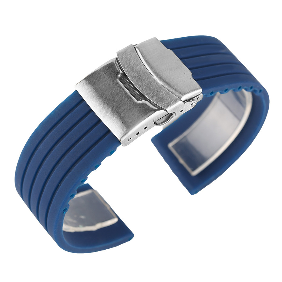 20/22/24mm Blue/Orange Silicone Rubber Men Watch Band Waterproof Folding Clasp with Safety Strap Watches Replacement Bracelet eache silicone watch band strap replacement watch band can fit for swatch 17mm 19mm men women