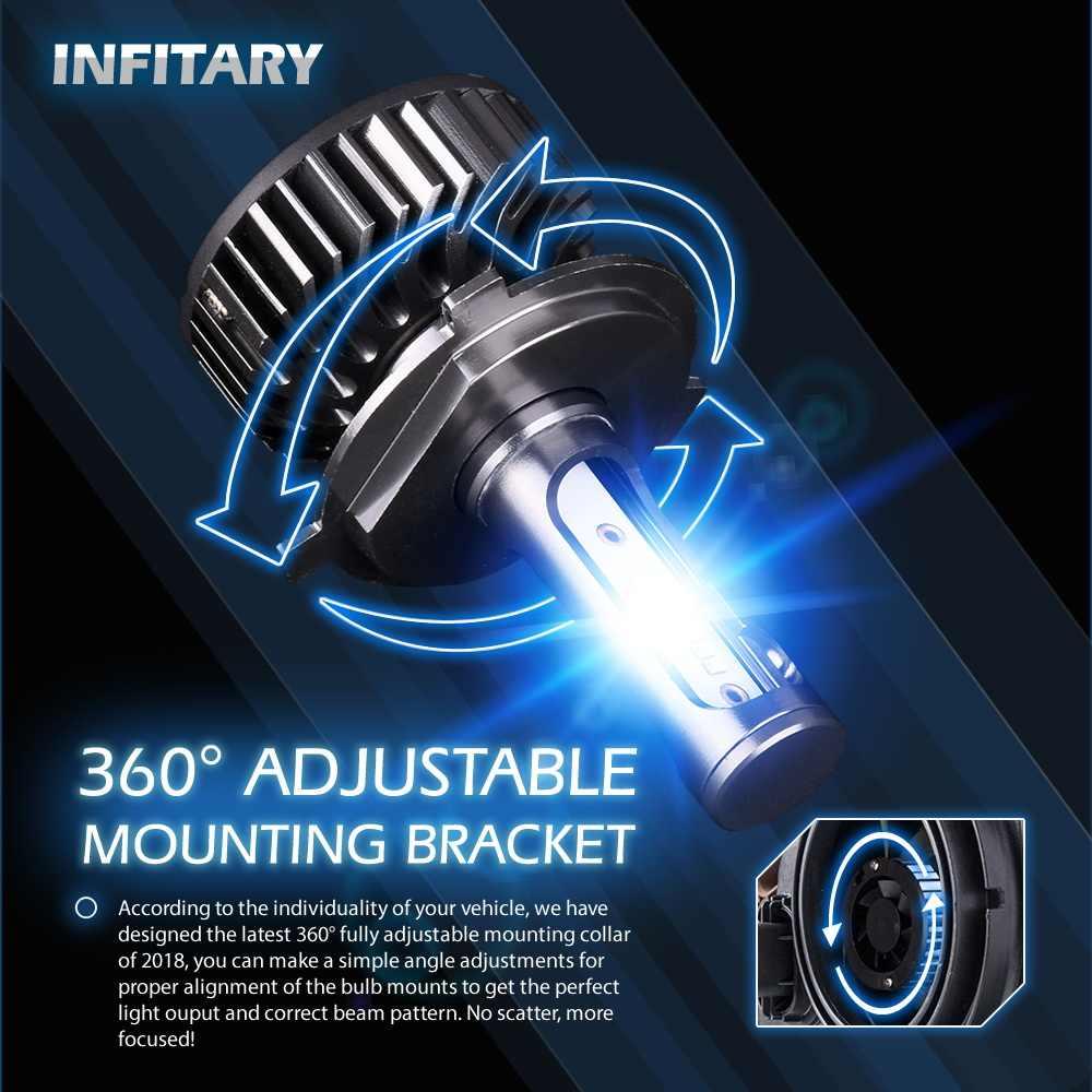 Infitary LED 6500K H4 H7 H1 ZES Chips LED Headlight Bulbs H11 H13 12V 24V 9005 9006 H3 9004 9007 9012 72W 8000LM Car LED lamp