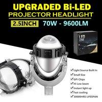 Универсальный супер яркий 2,5 9600LM би светодиодный линзы фар прожекторов Hi/Lo луч автомобиля H4 H7 светодиодный комплект для преобразования фар