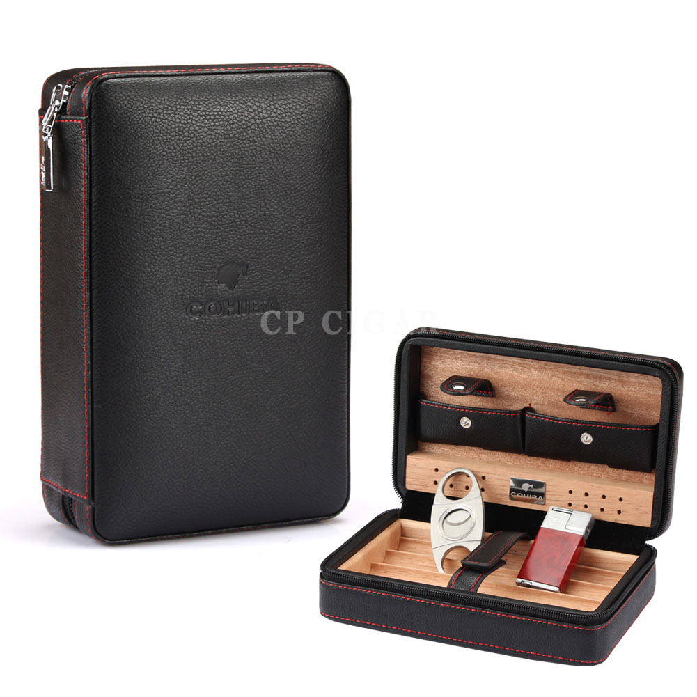 COHIBA Leather Cigar Case Cedar Wood Cigar Travel Humidor with Lighter Cutter Humidifier