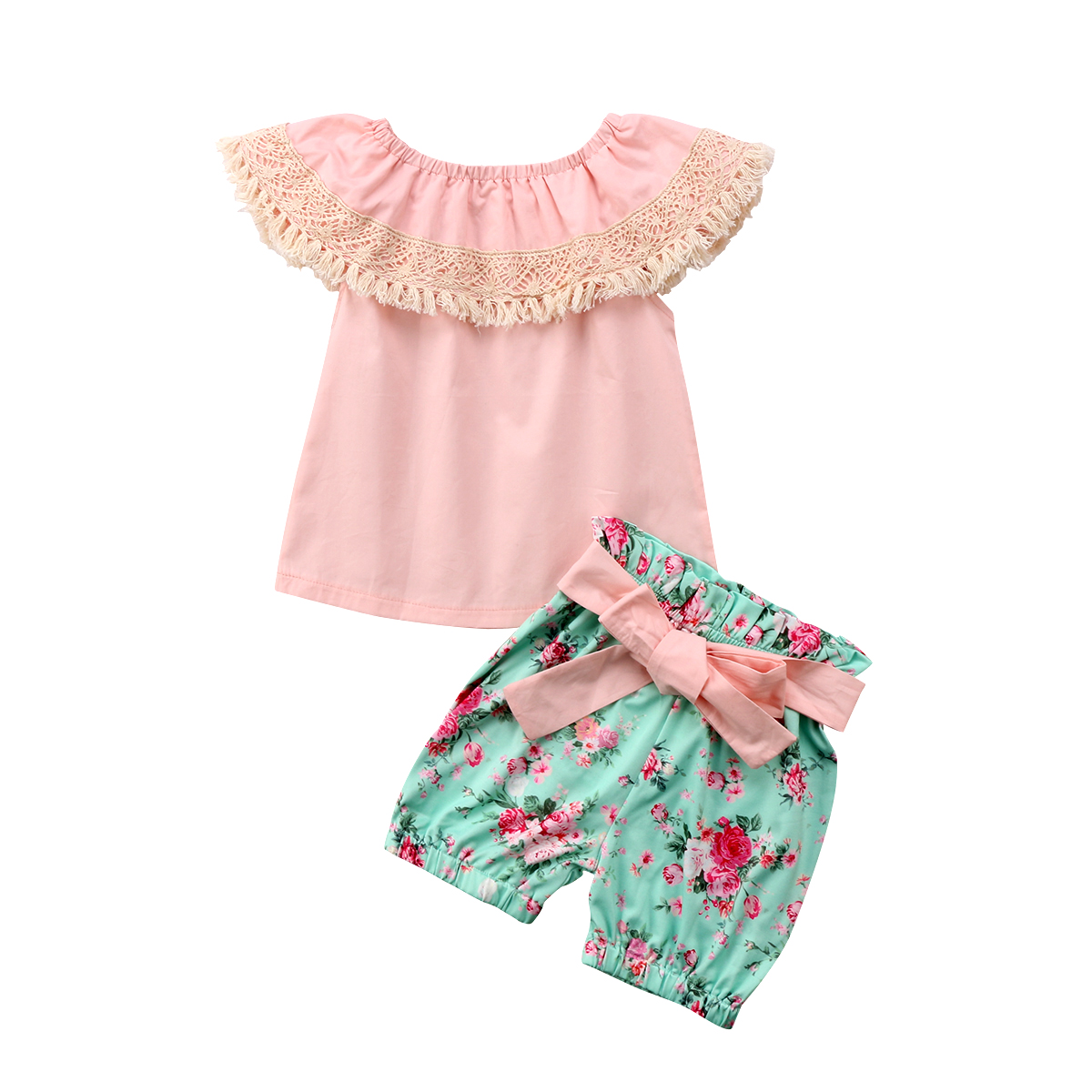 Toddler Kids Baby Girl Lace Tassels Floral Princess Summer Clothes Sunsuit Sleeveless Cotton T-shirt Shorts Romper Clothing Sets 2pcs ruffles newborn baby clothes 2017 summer princess girls floral dress tops baby bloomers shorts bottom outfits sunsuit 0 24m