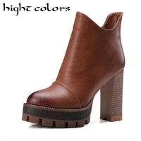 Fashion 2017 Women Ankle Boots Black Brown Women Martin Boots Sexy Vintage Platform High Thick Heels
