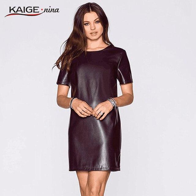 b6377133f Kaigenina moda mujer vendaje vestido sumem vestido de cuero de manga corta  sexy party bodycon mujeres