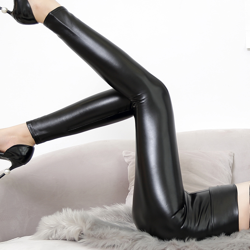 2018 New Women Thickened Leggings PU Skinny Pants Black Light and Matt Leather Warm Pants High Waist Trousers Slim Leggings