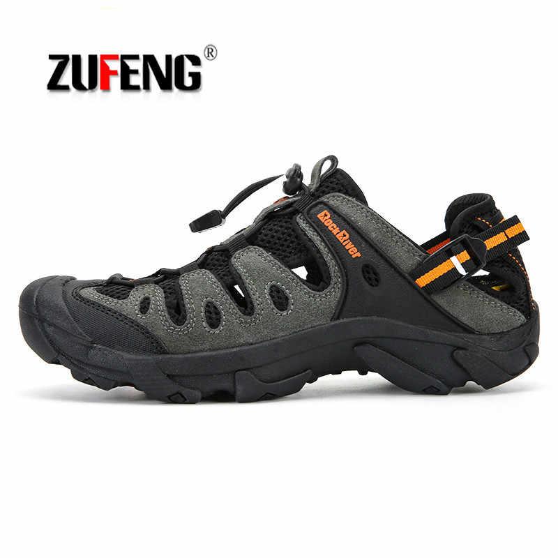 df4b6679a71c Большой размер летняя мужская походная обувь уличные Нескользящие сандалии  кроссовки дышащие спортивная мужская обувь треккинг Трейл