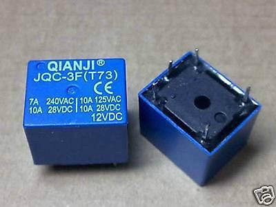 100X QIANJI JQC-3F(T73) 12VDC PCB RELAY SPDT 10A 125VAC