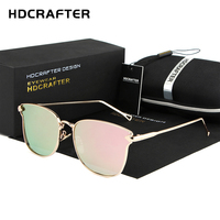 Fashion Vintage Retro Sunglasses Women HDCRAFTER 2017 Brand Design Cat Eye Mirror Sun Glasses For Women