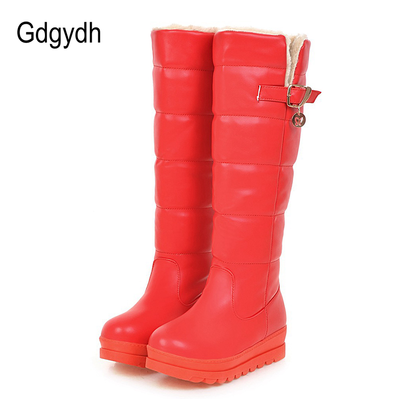 Gdgydh 2017 New Winter Snow Boots Platform Fashion Buckle Fur Cotton  Shoes Knee High Boots Female Winter Shoes Plus Size 43 faux fur buckle knee high snow boots