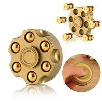 NEW Revolver Bullet Brass EDC Fidget Spinner Tri Steel Ball Desk Hand Spinner Gyro Fidget Toys
