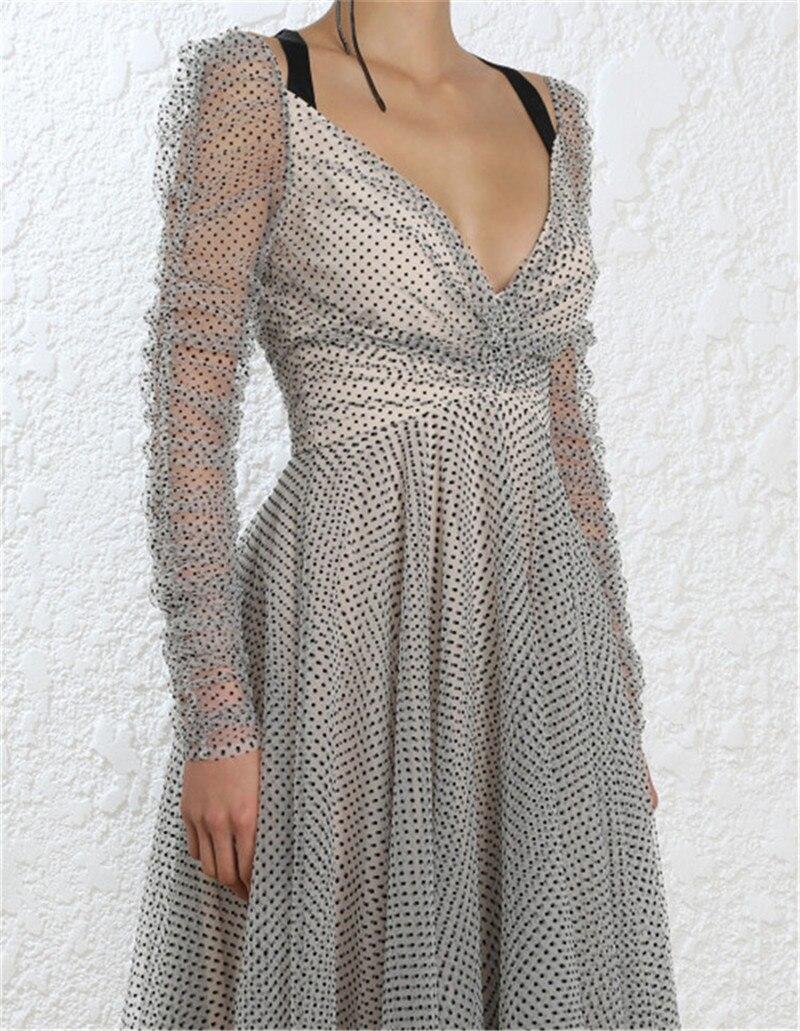 Dames Femmes Robes 2018 V De Long Automne Dot Nu Cou Robe Vêtements Gray Maxi Marque Parti Luxe Dos Swing Designer Sexy Piste OtqHn5Ww8