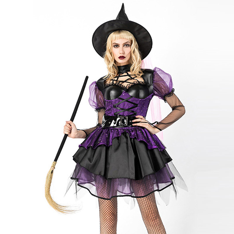 Halloween Witch Costumes for Women Adult Witches Sorceress Maleficent Costumes Carnival Party Cosplay Fancy Dress with Hat