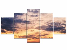5 Pieces Clouds Sunset Seascape Painting On Canvas Wall Art Pictures decoration For Living Room Framed J009-041