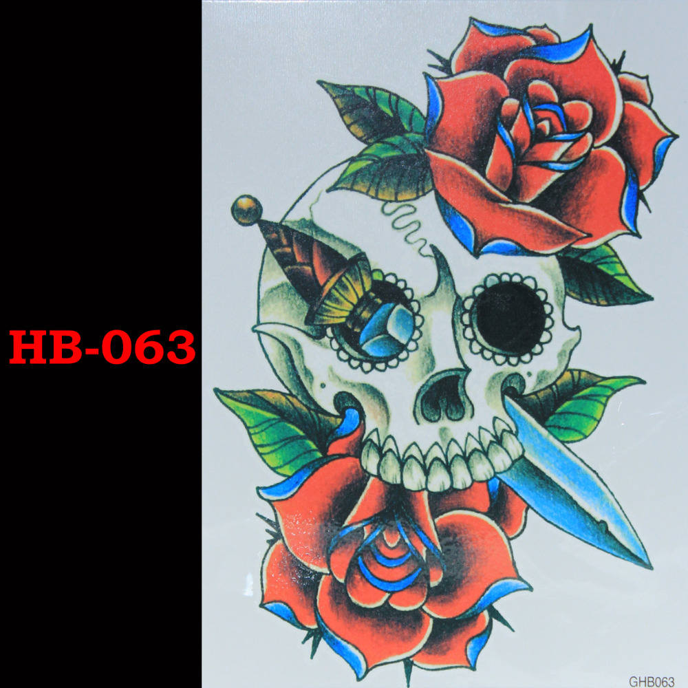 Кинжал красная роза скелеты Временные Татуировки Водонепроницаемый Мужчины Женщины 3D Татуировки Наклейки Поддельные Рукава Татуировки Татуировки Плеча