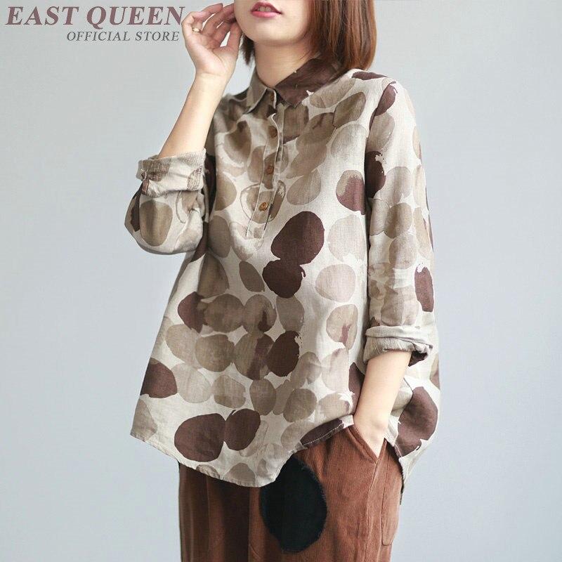 Printemps femmes chemise lâche vintage col carré manches longues chemises bouton décontracté preppy style à pois femme hauts AA3406 F