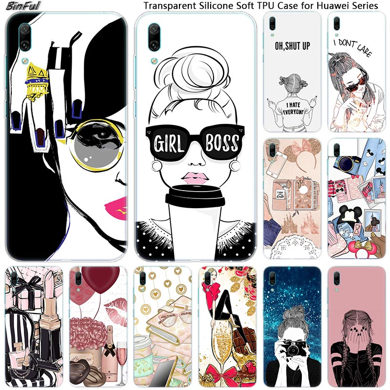 Super <font><b>Girl</b></font> Boss Soft Silicone Phone <font><b>Case</b></font> for <font><b>Huawei</b></font> Mate 10 20 Lite Pro Enjoy 9S Y9 <font><b>Y7</b></font> Y6 Y5 <font><b>2019</b></font> 2018 Pro 2017 Fashion Cover image