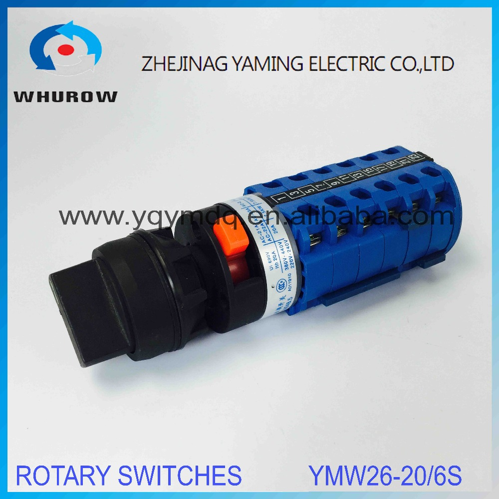 LW26 YMW26-20S/6 Rotary switch 3 postion single hole installation 690V 20A 6 pole universal changeover cam switch silver contact 660v ui 10a ith 8 terminals rotary cam universal changeover combination switch