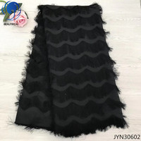 BEAUTIFICAL soft lace fabrics black chiffon fabric lace chiffon dress 5yards african lace fabric 2018 high quality lace JYN306