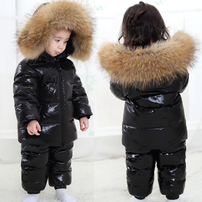 Winter Kids Girls Boys Snowsuit Set Baby White Duck Down Jackets Overall Children Real Raccoon Fur Hooded Rompers buenos ninos thick winter children jackets girls boys coats hooded raccoon fur collar kids outerwear duck down padded snowsuit