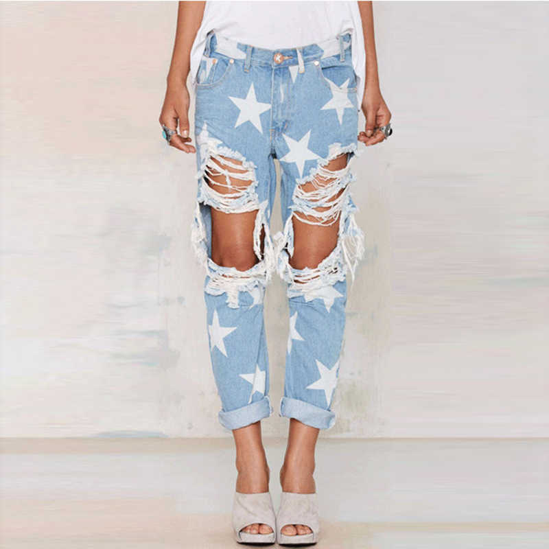 4a26ad3ba8 Europe Style High Waist Jeans Woman Ripped Jeans 2017 Spring Summer Boyfriend  Hole Plus Size Stars