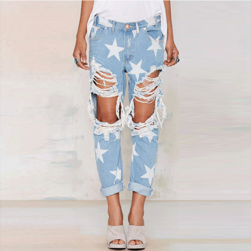 цены Europe Style High Waist Jeans Woman Ripped Jeans 2017 Spring Summer Boyfriend Hole Plus Size Stars Printed Denim Pants Femme 3XL