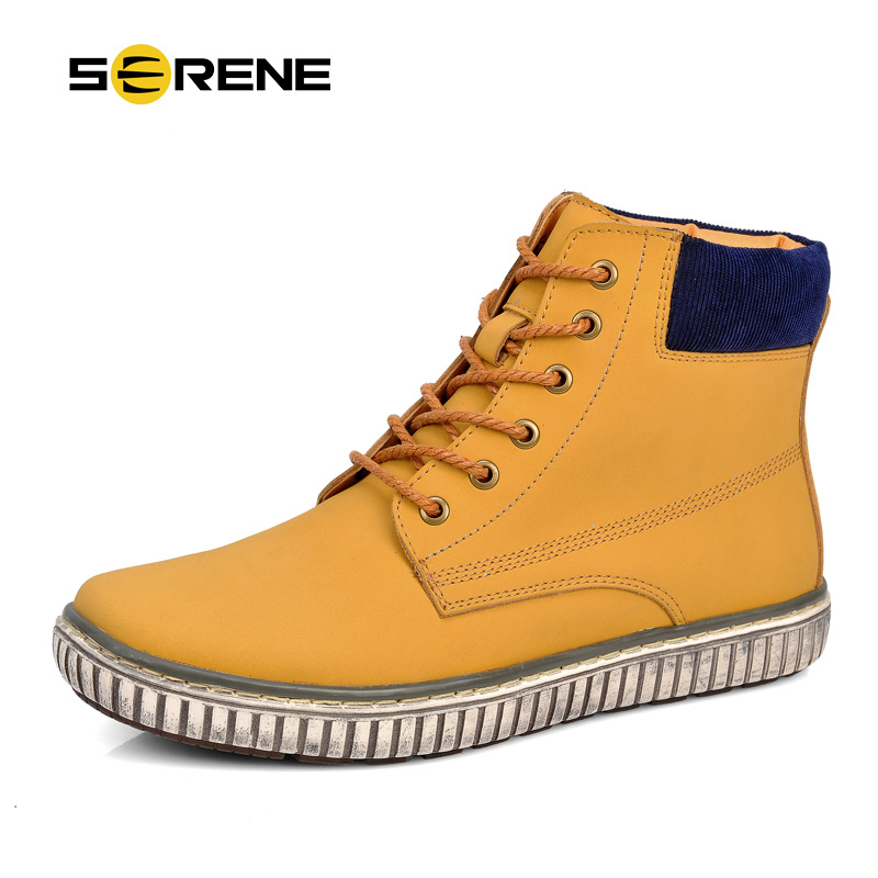 SERENE Brand 2017 New Arrival  Autumn & Winter Men Casual High-Top Shoes British Cow Leather Boots Waterproof Warm Boots 3221