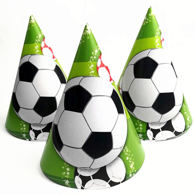 567c267e3c5413 6pcs Boys Birthday Party Football/Soccer Disposable Paper Hats Supplies  Baby Shower Children's Day And The World Cup Decorations