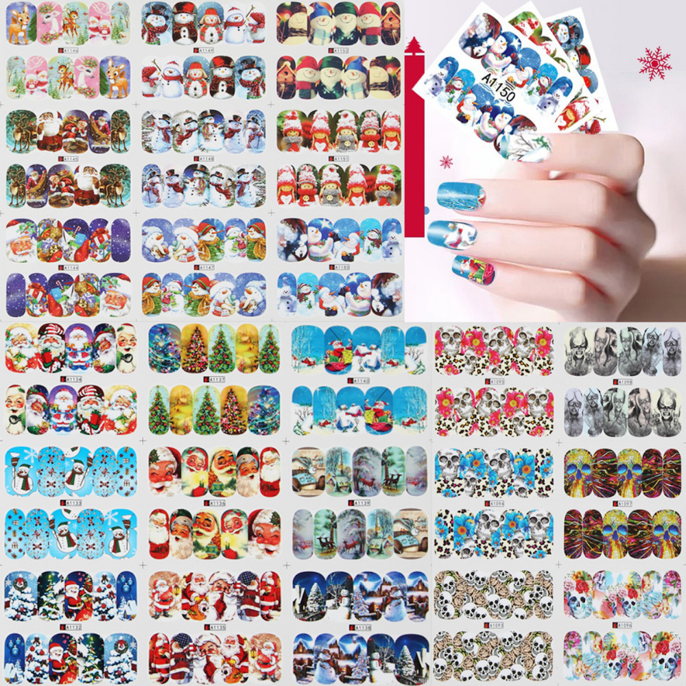 Nail Art Christmas Halloween Multi Style Water Transfer Stickers 3D Foil Santa Tree Snowman Owl Skull DIY Image Full Wraps Decal nail art water transfer stickers christmas style mix santa claus bell gift angel etc12 design decals christmas decoration set