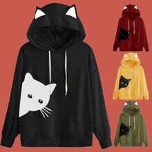 Winter Pullover Sweatshirt Women Cat Print Hoodie Drawstring Poleron Mujer 2019 Harajuku Xxl Hoodie Cat Ears Long Sleeve Hoodie color block panel drawstring pullover hoodie