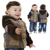 Anlencool 2017 Satış Coat Tam Roupas Meninos Marka Yeni Bebek Avrupa Ve Amerika'da kış Tong Takım Giyim Erkek Giysileri Set