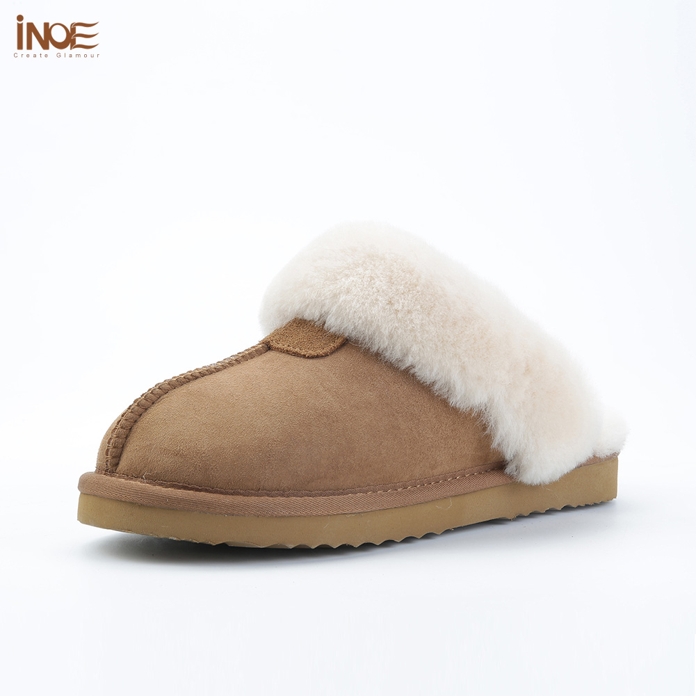 INOE sheepskin leather fur lined women home shoes winter suede slippers indoor house shoes for woman
