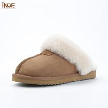 Inoe pele de carneiro camurça couro natural forrado de pele das mulheres chinelos de inverno casa sapatos interior para a mulher metade chinelos quentes