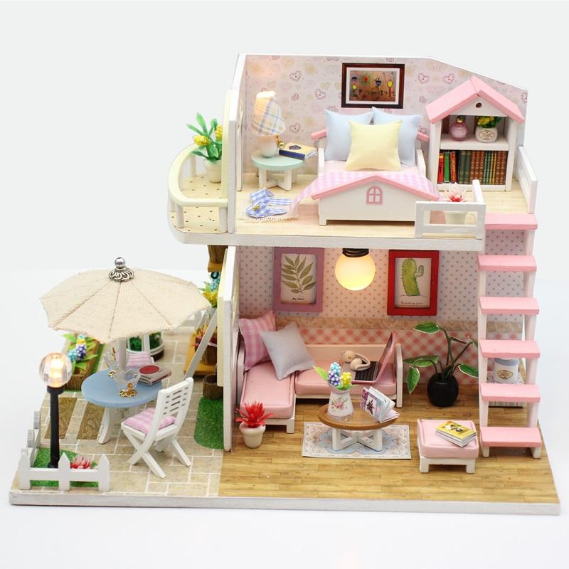 Hoomeda nueva llegada miniatura casa de muñecas de madera con - Muñecas y accesorios - foto 2