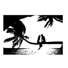 Lover Sitting On The Palm Tree Wall Mural Living Room Hollow Out Seaside Landscape Wall Stickers Home Decor PVC Design
