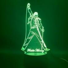 3d Led לילה אור מנורת בריטי הזמר פרדי מרקורי איור מנורת לילה עבור משרד עיצוב הבית הטוב ביותר אוהדי מתנה Dropshipping